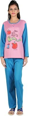 Div Women's Printed Pink Top & Pyjama Set