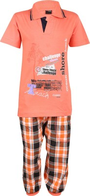 Meril Boys Printed Orange T-shirt & Three-forth Set