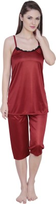 Claura Women's Solid Maroon Top & Capri Set