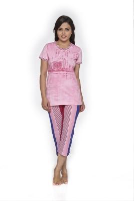 Melodie Women's Printed Pink, Multicolor Top & Pyjama Set