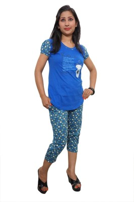 Indiatrendzs Women's Printed Blue Top & Capri Set