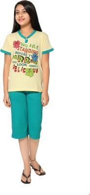Elite Girl's Printed Yellow Top & Capri Set
