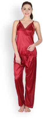 Oleva Women's Self Design Maroon Top & Pyjama Set