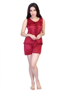 Viji's Collection Women's Solid Maroon Top & Shorts Set