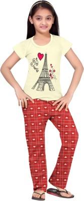 So Sweety Girl's Printed Yellow Top & Pyjama Set