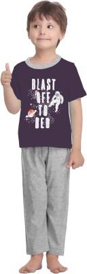 La Dreamz Boy's Printed Purple Top & Pyjama Set