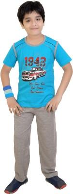 Red Ring Boy's Graphic Print Blue, Grey, Maroon Top & Pyjama Set