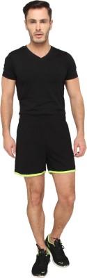 LUCfashion Men's Self Design Black Top & Shorts Set