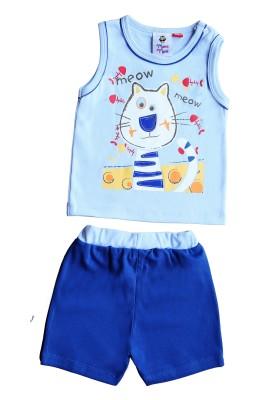 Munna Munni Kids Apparel Baby Boy's Self Design Blue, Light Blue Top & Shorts Set