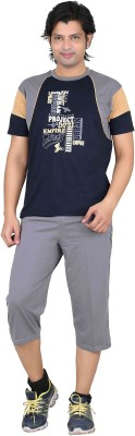 Premium Plus Men's Printed Dark Blue, Light Blue T-shirt & Three-forth Set
