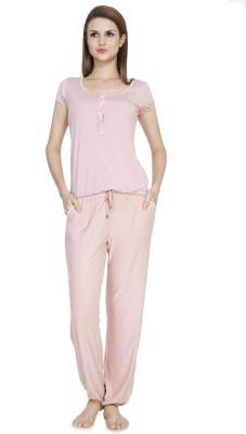 SOIE Women's Solid Pink Top & Pyjama Set