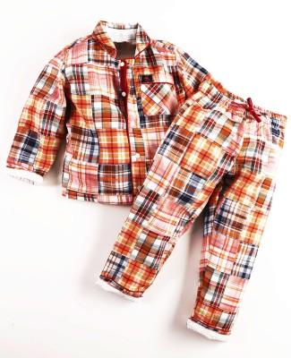 Cherry Crumble California Girl's Checkered Orange Top & Pyjama Set