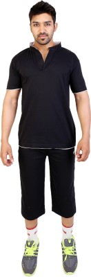 Obvio Men's Solid Black T-shirt & Three-forth Set