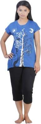 July Cotton Two Piece Women's Printed Dark Blue, Black Top & Capri Set