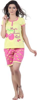 New Darling Women's Printed Yellow, Pink Top & Shorts Set