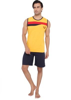 Valentine Men's Solid Yellow Top & Shorts Set