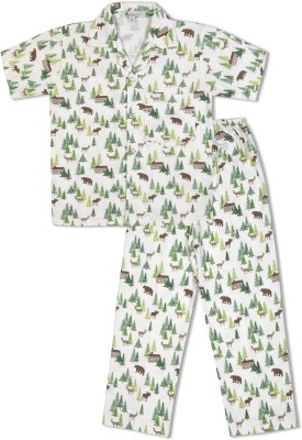 Green Apple Boy's Printed White Top & Pyjama Set