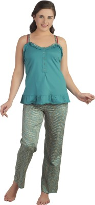 Soie Women's Polka Print Dark Green Top & Pyjama Set at flipkart
