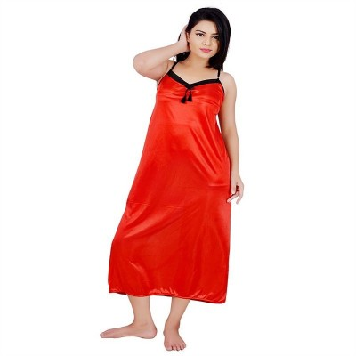 Annu Women's Self Design Black, Red Sleepshirt