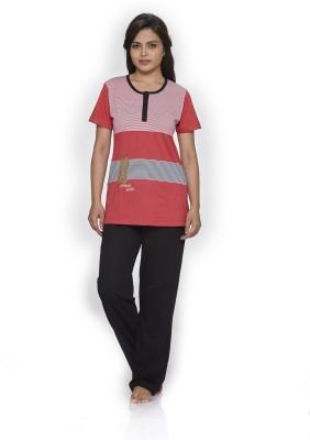 Melodie Women's Printed Pink, Black Top & Pyjama Set