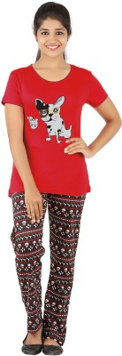 Gallop Women's Animal Print Red Top & Pyjama Set
