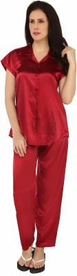 Sweet Heart Women's Solid Maroon Top & Pyjama Set