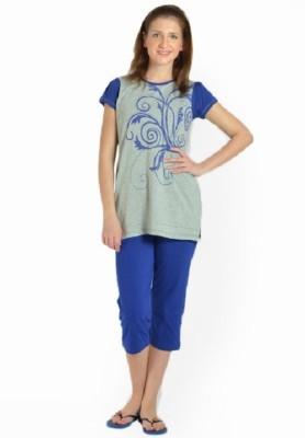 LLO Fashions Women's Solid Blue Top & Capri Set