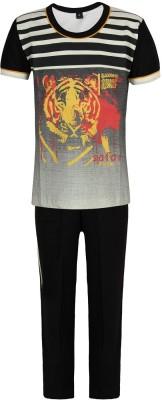 Jazzup Baby Boy's Printed Black Top & Pyjama Set