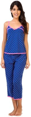 Penny by Zivame Women,s Floral Print Blue Top & Capri Set
