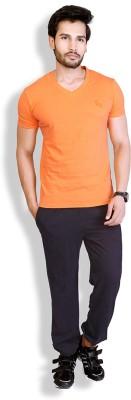 LanosUC Super Soft Men's Self Design Black Top & Pyjama Set