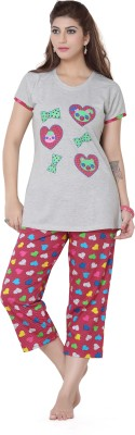 Sweet Night Women's Polka Print Multicolor Top & Capri Set