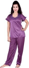 Love Bird Women's Solid Purple Top & Pyjama Set