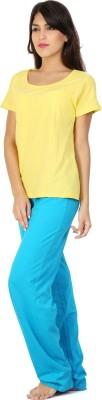 Click Hit Softle Top Payjama set Women's Solid Yellow, Light Blue Top & Pyjama Set