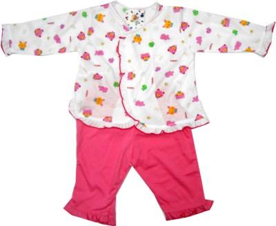 NammaBaby Baby Girl's Animal Print Pink Top & Pyjama Set