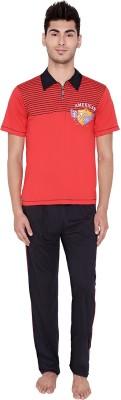 Jazzup Men's Solid Red, Black Top & Pyjama Set