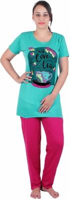 Di Tutti Women's Graphic Print Green Top & Pyjama Set