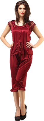 DesiHarem Women,s Solid Red Top & Pyjama Set