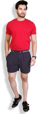 LUCfashion Men's Solid Black, Red Top & Shorts Set