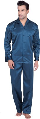 Tatwam Men's Solid Blue Top & Pyjama Set