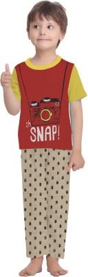 La Dreamz Boy's Printed Red Top & Pyjama Set