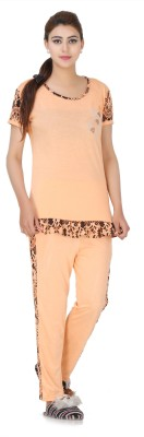 Broche Women's Printed Orange Top & Pyjama Set