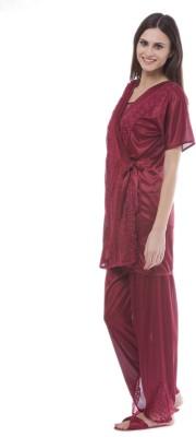 Se Deplace Women's Solid Maroon Top & Pyjama Set