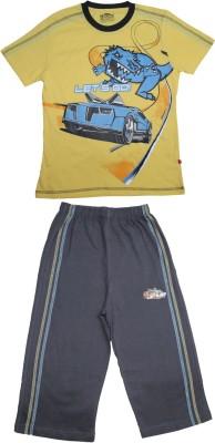 Proteens Boy's Printed Yellow, Blue Top & Capri Set
