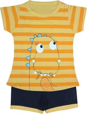 Jazzup Girl's Printed Orange Top & Shorts Set