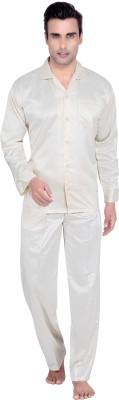 Tatwam Men's Solid White Top & Pyjama Set