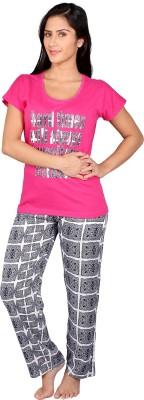 Vixenwrap Women's Printed Pink Top & Pyjama Set
