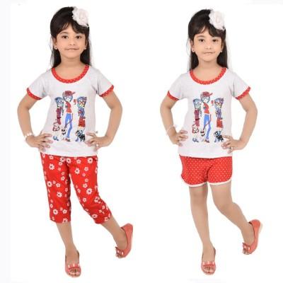 CHOCOBERRY Girl's Printed White, Red Top, Capri & Shorts Set