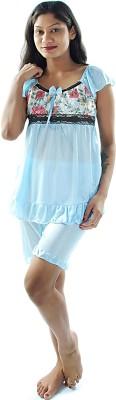 Gwyn Lingerie Women's Solid Light Blue Top & Shorts Set