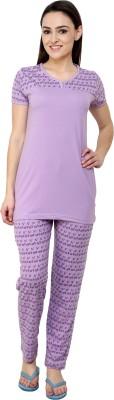 Glasgow Women's Printed Purple Top & Pyjama Set