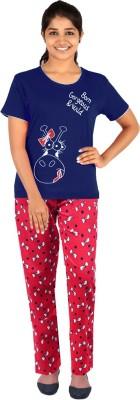 Gallop Women's Printed Dark Blue Top & Pyjama Set